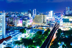 Bangkok skyline at night Stock Images