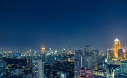 Bangkok skyline at night panorama Stock Photo