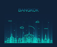 Bangkok skyline trendy vector illustration linear Royalty Free Stock Photos