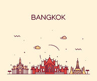 Bangkok skyline trendy vector illustration linear Stock Images