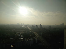 Bangkok skyline views of the morning mist Royalty Free Stock Photos