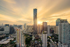 Bangkok skyscraper and Bangkok skyline during sunrise at morning Royalty Free Stock Photography
