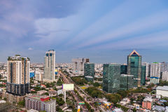 Bangkok skyscraper at sunet Stock Image