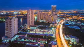 Bangkok Skyscraper. Thailand bangkok twilight light night city architecture  building,Ferris wheel,Skyscraper Stock Photos
