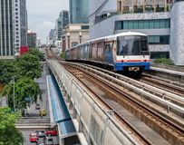 Bangkok SkyTrain. Approaching station in Sukhumvit district in downtown Stock Photo
