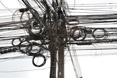 Bangkok smutsig slarvig tråd & kabel Royaltyfri Foto