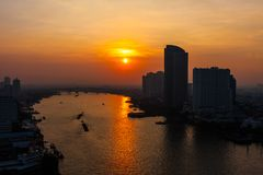 bangkok solnedgång Royaltyfri Foto