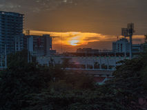 bangkok solnedgång Royaltyfri Fotografi