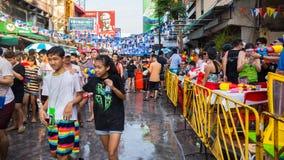 Bangkok Songkran festival Arkivfoto