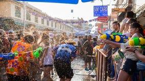 Bangkok Songkran festival Arkivbild