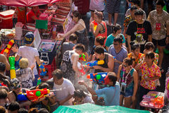Bangkok Songkran Festival Siam Square 2016. Bangkok, Thailand - April 13, 2016: Bangkok Songkran Festival Siam Square 2016, The Songkran festival is celebrated stock image