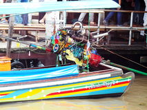 BANGKOK speed boat in CHAO PHRAYA river modified automotive engine with colourful anodized metallic motor parts Stock Photos