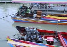 Bangkok speed boats. Colorful power boats in Bangkok stock photos