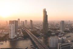 Bangkok stadssikt från över, Thailand Royaltyfri Fotografi