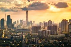 Bangkok-Stadt bei Sonnenuntergang mit Filter-Effekt Lizenzfreie Stockfotografie
