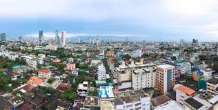 Bangkok-Stadt Geschäftszentrumpanorama mit Wolkenkratzern Asiat ich Stockbilder