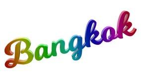 Bangkok-Stadt-Name kalligraphisches 3D machte Text-Illustration gefärbt mit RGB-Regenbogen-Steigung Stockfotografie
