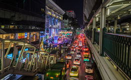 Bangkok-Stadtnachtlichter Stockbilder