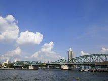 Bangkok steel bridge. Urbanscape scene of Phra Phuttha Yodfa Bridge, Bangkok, Thailand Royalty Free Stock Photos