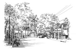 Bangkok street-sketch Stock Images