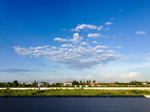 Bangkok Suburb with white cloud and blue sky Royalty Free Stock Photography