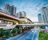 Bangkok subway station at dusk. Bangkok metro station at dusk with modern cityscape , thailand Royalty Free Stock Photos