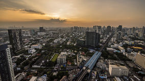 Bangkok sukhumvit road twilight Royalty Free Stock Photo