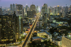Bangkok sukhumvit road twilight Royalty Free Stock Image