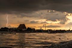 Bangkok summer lightning on the river sunset