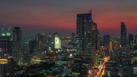Bangkok sunset downtown river roof top panorama 4k time lapse thailand stock video footage