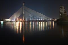 Bangkok suspension bridge. View of Rama VIII suspension Bridge in Bangkok from Chao Phraya river Royalty Free Stock Images