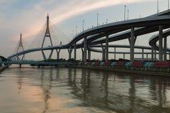 Bangkok Suspension Bridge connection to highway cross main river of Thailand Royalty Free Stock Photos