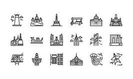 Bangkok symbols and landmarks icon set 1 Stock Photos
