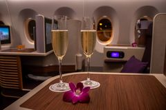 BANGKOK, TAILANDIA - 24 APRILE 2018: Business class di Thai Airways Fotografia Stock