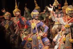 BANGKOK TAILANDIA - 7 de agosto hermanos del hanuman una porción de Praram Foto de archivo libre de regalías