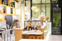 Bangkok, Tailandia - 12 de enero de 2018: Café interior del postre Fotografía de archivo libre de regalías