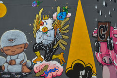 Bangkok, Tailandia: 29 de enero de 2017 en el arte de Bangkok y el arte de la pared de centro de la cultura en el gallo chino del Imagen de archivo libre de regalías
