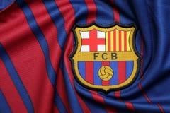 BANGKOK, TAILANDIA - 26 DE JUNIO: : el logotipo del cl del fútbol de Barcelona Foto de archivo