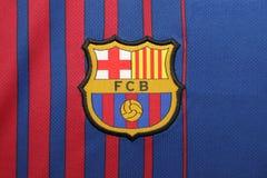 BANGKOK, TAILANDIA - 26 DE JUNIO: : el logotipo del cl del fútbol de Barcelona Imagenes de archivo