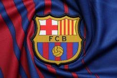 BANGKOK, TAILANDIA - 26 DE JUNIO: : el logotipo del cl del fútbol de Barcelona Fotografía de archivo