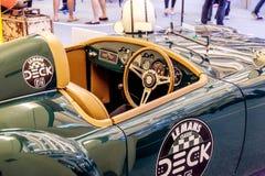 BANGKOK, TAILANDIA, - 11 DE MARZO DE 2018: Un coche MG MGA 1500 del vintage: 1959 fue mostrado en un salón del automóvil clásico  Imagen de archivo libre de regalías