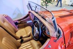 BANGKOK, TAILANDIA, - 11 DE MARZO DE 2018: Un coche Morgan +8 del vintage o plus8: 1968 fue mostrado en un salón del automóvil cl Imágenes de archivo libres de regalías