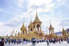 Bangkok, Tailandia - 10 de noviembre de 2017: La exposición real del crematorio de rey Bhumibol Adulyadej en SanamLuang Foto de archivo