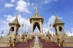 Bangkok, Tailandia - 10 de noviembre de 2017: La exposición real del crematorio de rey Bhumibol Adulyadej en SanamLuang Imagen de archivo libre de regalías