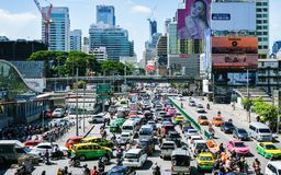 BANGKOK, TAILANDIA - 27 de septiembre 2017: Atasco en el mornin Fotografía de archivo