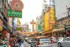 BANGKOK, TAILANDIA - 1° FEBBRAIO: scena della via in Chinatown, Bangko Fotografia Stock