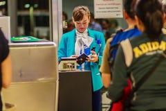 Bangkok, Tailandia - 21 febbraio 2017: St a terra di Bangkok Airways Fotografia Stock Libera da Diritti