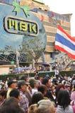 Bangkok/Tailandia - 01 14 2014: Le camice gialle bloccano ed occupano l'incrocio pallido di Pathum come componente dell'operazion Fotografia Stock Libera da Diritti