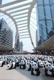 Bangkok, Tailandia - 8 marzo 2016: Giro del mondo di 1600 panda Fotografia Stock Libera da Diritti