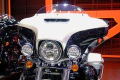 Bangkok, Tailandia 30 marzo 2019: Il motociclo di Harley-Davidson del dettaglio-Un della bici del motore è stato indicato in quar fotografia stock libera da diritti